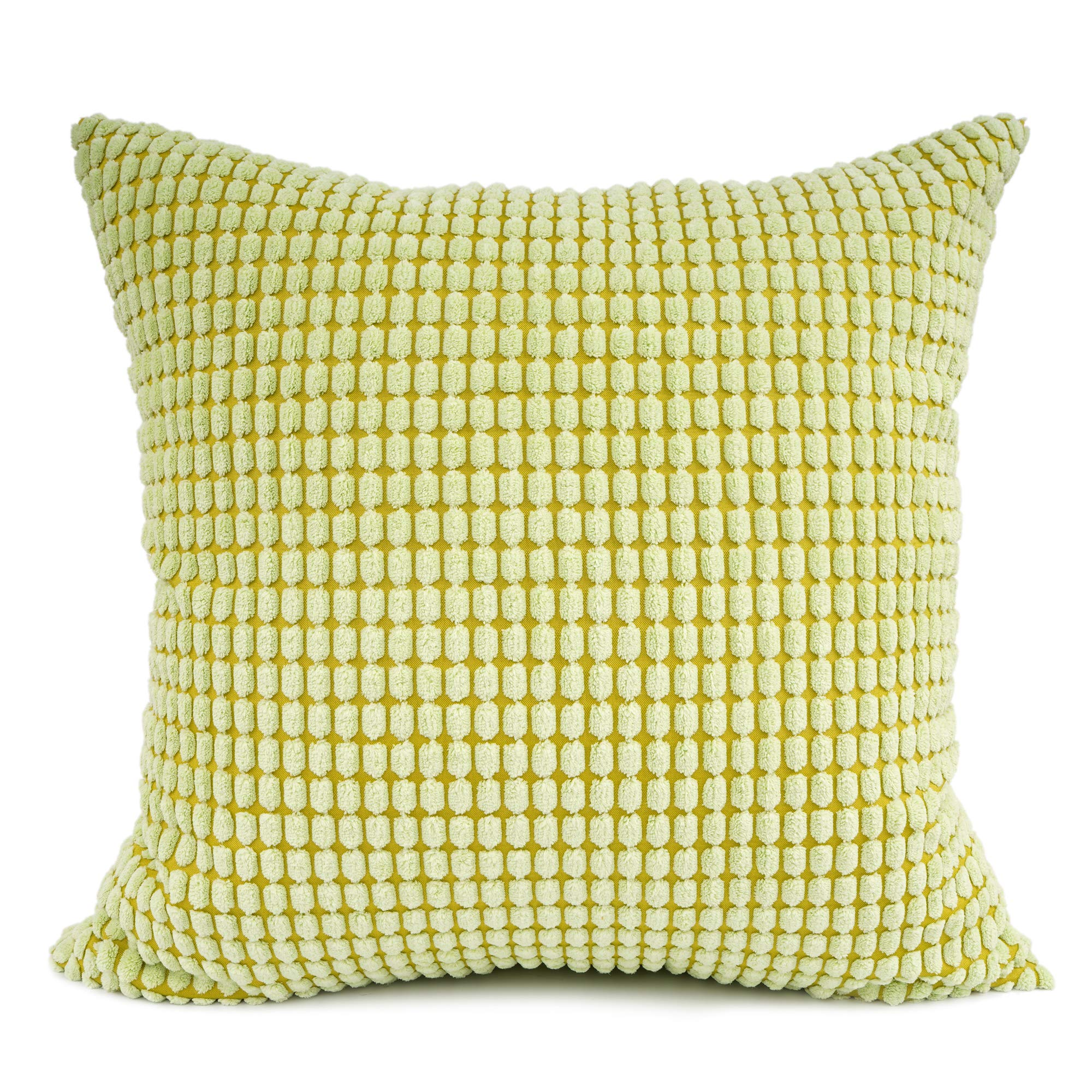 YOUR SMILE Cozy Bolster Pillow Cover Case for Couch Sofa Bed Comfortable Supersoft Corduroy Corn Striped Both Sides 20 X 20 Inches,Green