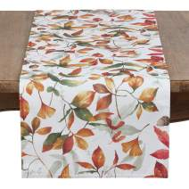 "SARO LIFESTYLE 5050.M1672B Feuilles Collection Beautiful Polyester Table Runner With Fall Leaves Design, 16"" x 72"", Multi"