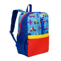 Wildkin Kids Pack-it-All Backpack for Boys and Girls, Perfect Size for School and Travel, Features Front Strap, Interior Sleeve, Back Support & Side Pocket,BPA-free,Olive Kids(Trains, Planes & Trucks)