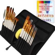 ArtSorted Colors Artist Paint Brushes Set with Case - 18 Piece Pop Up Carrying Case - Plus Templates - Convenient Paint Brush Kit - Watercolor, Acrylic, Gouache, Oil -Beginner to Professional