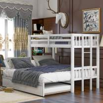 Merax Solid Wood Bunk Bed Detachable No Box Spring Needed Trundle, Twin/Twin/King, White
