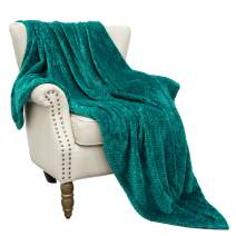 """Exclusivo Mezcla Large Flannel Fleece Throw Blanket, Jacquard Weave Wave Pattern (50"""" x 70"""", Teal) - Soft, Warm, Lightweight and Decorative"""