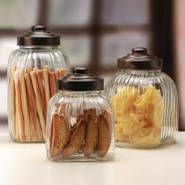 Circleware Column Glass Canister with Metal Lid 3-Piece Set of Home Kitchen Glassware Food Preserving Storage Container for Coffee, Sugar, Tea, Spices, Cereal, 154 oz, 122.5 oz, 100 oz, Bronze