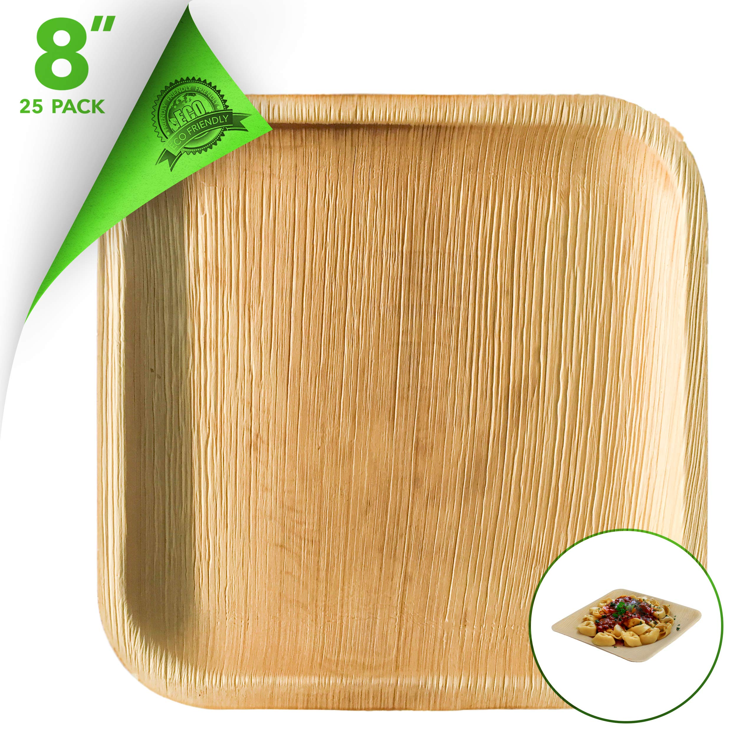 Disposable Wooden Plate 8 Inch Eco Plates (25 Pack) Palm Leaf Recycled Plates - Heavy Duty Disposable Plates Bamboo Like Disposable Dishes for Weddings, Parties, Dinners and Everyday Use…