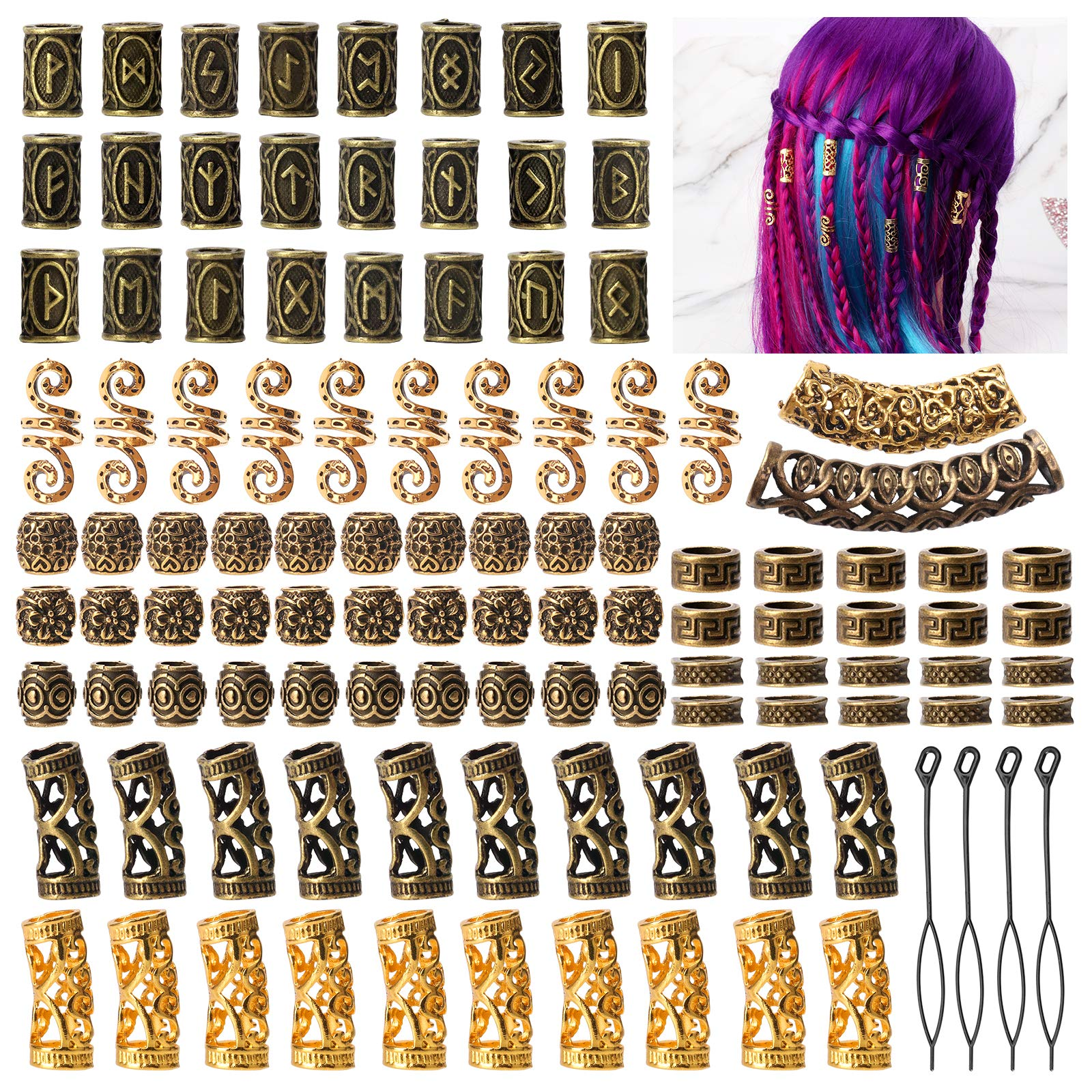 Viking Runes Hair Tube Beads cenoz 110Pcs Beard Beads with Pull Hair Pin Norse Dreadlocks Rings Hair Bead Decoration Beads for Bracelets Pendant Necklace DIY (Ancient Gold Color)