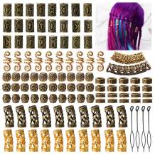 Viking Runes Hair Tube Beads cenoz 110Pcs Beard Beads with Pull Hair Pin Norse Dreadlocks RingsHair Bead Decoration Beads forBracelets Pendant Necklace DIY (Ancient Gold Color)