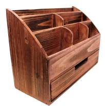 Executive Office Solutions Vintage Rustic Wooden Office Desk Organizer & Mail Rack for Desktop, Tabletop, or Counter - Distressed Torched Wood-Store Supplies, Desk Accessories, Mail – Cherry (WO3B)