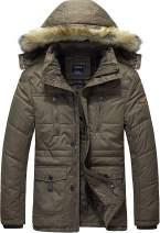 Vcansion Men's Winter Thicken Windbreaker Jacket Parka Fleece Puffer Jackets Coat with Removable Hood