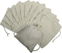 100 Percent Cotton Muslin Drawstring Bags 12-Pack For Storage Pantry Gifts - Unbleached (8 x 10 inch, Beige)