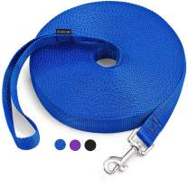 Petescort Long Dog Leash for Training 15Ft 20 Ft 30 Ft 50 Ft Long-for Dog Cat Training, Play, Camping Leash (15 Feet Blue)