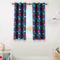 "AmazonBasics Kids Room Darkening Blackout Window Curtain Set with Grommets - 42"" x 63"", Multi-Color Dinosaur"
