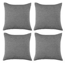 Deconovo Soft Blank Cushion Covers for Sofa Pillow Covers Faux Linen Pillow Covers with Invisible Zipper 18x18 Inch Grey 4 Pcs Case Only No Insert