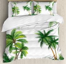 Ambesonne Tropical Duvet Cover Set, Coconut Palm Tree Nature Paradise Plants Foliage Leaves Digital Illustration, Decorative 3 Piece Bedding Set with 2 Pillow Shams, King Size, Hunter Green