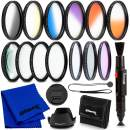 Ultimaxx 55MM Complete Lens Filter Accessory Kit for Lenses with 55MM Filter Size: 6PC Gradual Color Filter Set + UV CPL FLD Filter Set + Macro Close Up Set (+1 +2 +4 +10)