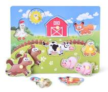 Wooden Peg Puzzle, Farm Chunky Baby Puzzles, Full-Color Pictures Wood Shape Puzzle Peg Board, Animal Knob Puzzle for Educational Toddlers 18Months and up, 8 Pieces