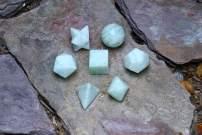FASHIONZAADI Amazonite Stone Crystal Platonic Solids Sacred Geometry 7 Pcs Set for Chakra Balancing Healing Gemstone Energy Size 15-20 mm