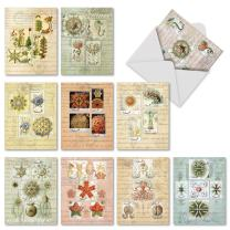 Assorted 'Vintage Nature' Greeting Cards for All Occasions - 10 Vintage Stamp Note Cards w/Envelopes, Blank Stationery for Weddings, Holidays, Business, Thank You 4 x 5.12 inch M2353OCB