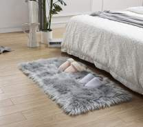 LEEVAN Rectangle Sheepskin Rugs Deluxe Soft Fuzzy Faux Fur Area Rug Fluffy Shaggy Modern Throw Carpet Floor Mat for Living Room Bedroom Accent Decor-2 ft x 3 ft,Grey