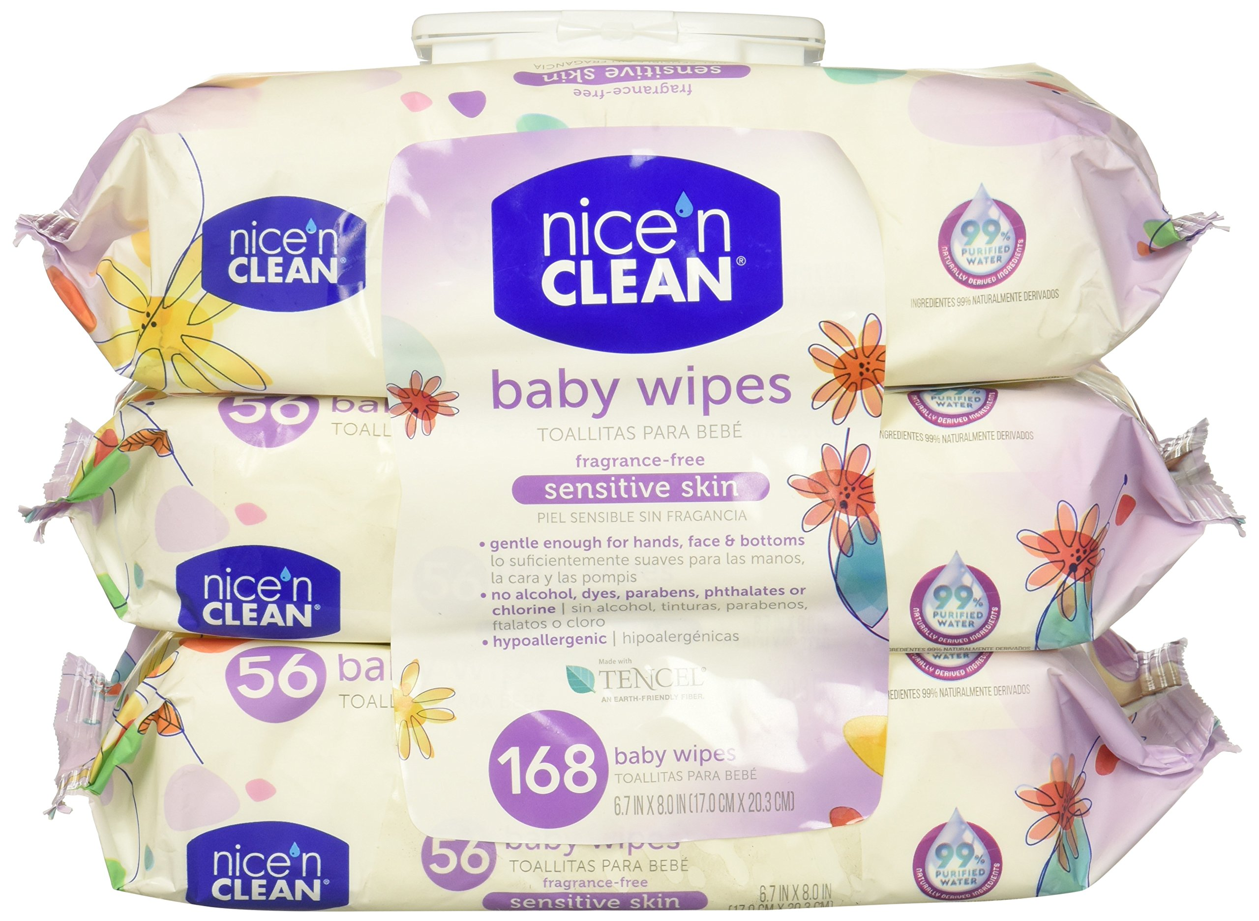Nice 'n Clean Unscented Baby Wipes (168 Total Wipes) | Ideal for Sensitive Skin | Hypoallergenic, Alcohol-Free, Paraben-Free Wet Wipes | Infused w/Aloe & Vitamin E