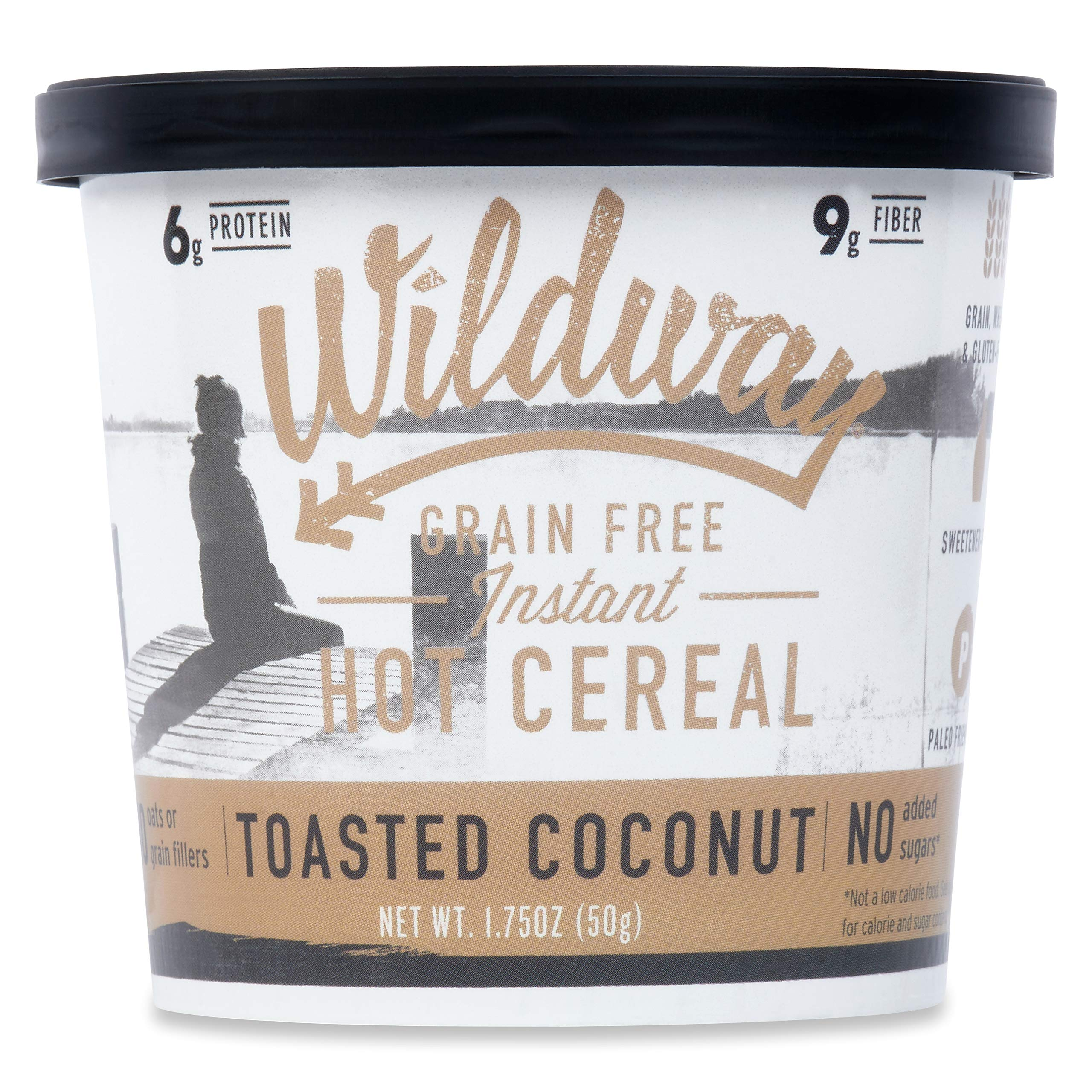 Wildway Vegan, Keto Hot Cereal Cups   Toasted Coconut   Certified Gluten Free Instant Breakfast Cereal, Low Carb Snack   Grain-Free, Keto, Paleo, Non-GMO, No Artificial Sweetener   6 pack
