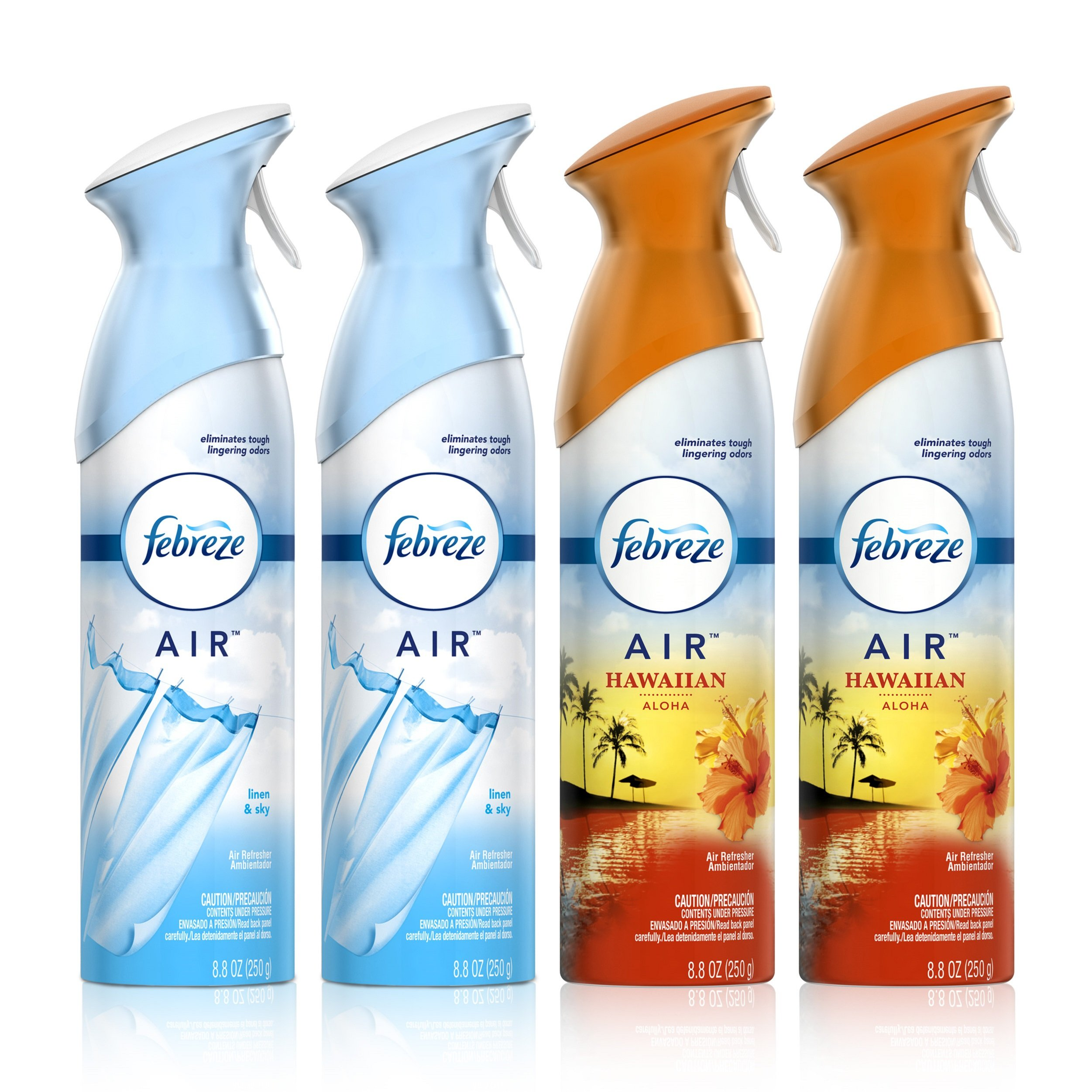 Febreze Air Freshener and Odor Eliminator Spray, Linen & Sky and Hawaiian Aloha Scents, 8.8oz (Pack of 4)