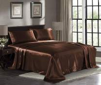 Satin Sheets California King [4-Piece, Brown] Luxury Silky Bed Sheets - Extra Soft 1800 Microfiber Sheet Set, Wrinkle, Fade, Stain Resistant - Deep Pocket Fitted Sheet, Flat Sheet, Pillow Cases