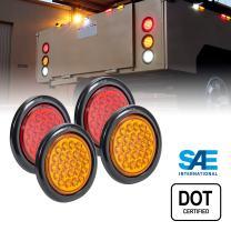"2 Red + 2 Amber 4"" Round LED Trailer Tail Light Kit [DOT FMVSS 108] [24 LED] [Grommets & Plugs] [IP67 Waterproof] [Stop Turn Tail Park] Marine Trailer Brake Lights for Boat Trailer RV Truck"