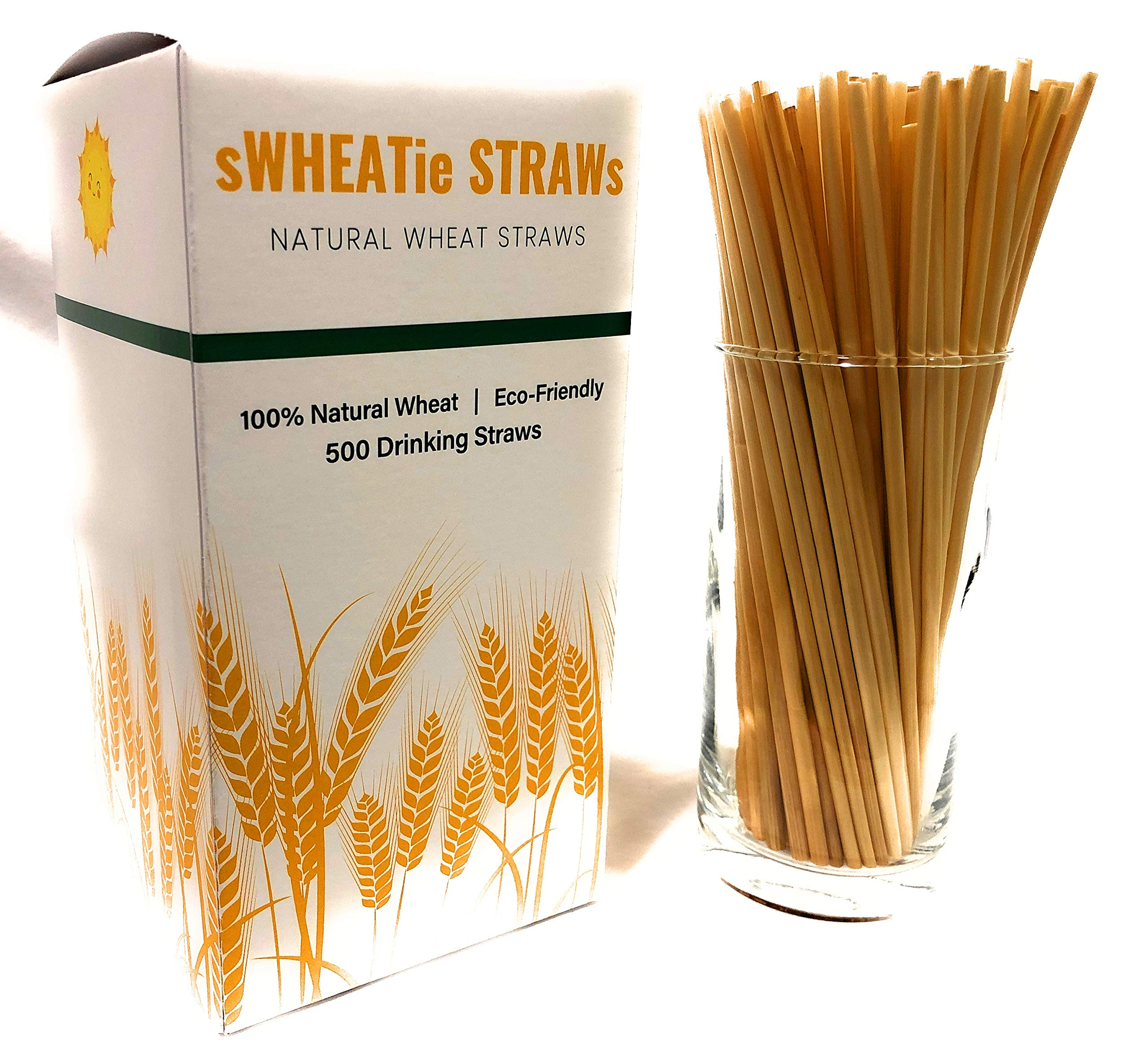sWHEATie Straws |100% Natural Wheat Hay Straws for Drinking | Tall 500, Eco Friendly Biodegradable, Disposable, Safer than Reusable, for Home and Bars, Mom and Kid Approved!