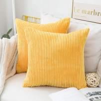 Home Brilliant Striped Corduroy Plush Texture Velvet Euro Throw Pillow Sham Cushion Cover for Chair, 24 x 24 inch (60cm), Set of 2, Sunflower Yellow