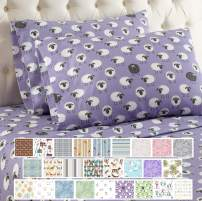 Thermee Micro Flannel Counting Sheep Sheet Set, King, Lavender