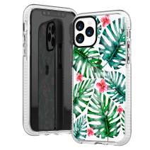 iPhone 11 Pro Clear Case,Green Bahama Leaves with Pink Flowers Floral Blooms Summer Tropical Trendy Girls Women Sassy Hipster Cute Soft Protective Clear Design Case Compatible for iPhone 11 Pro