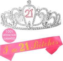 21st Birthday Gifts for Girl, 21st Birthday Tiara and Sash, Happy 21st Birthday Party Supplies, I'm 21 Finally Glitter Satin Sash and Crystal Tiara Birthday Crown, 21st Birthday Party Decoration