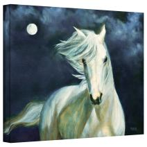 Art Wall Moon Silver Gallery Wrapped Canvas Art by Marina Petro, 18 by 24-Inch