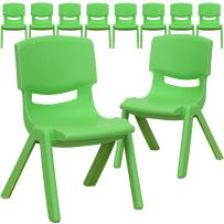 Flash Furniture 10 Pk. Green Plastic Stackable School Chair with 10.5'' Seat Height