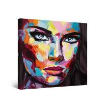 Startonight Canvas Wall Art Abstract Painting - Eva Woman, Big Eyes Red Lips 32 x 32 inches