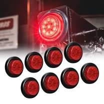 "8pc 2"" Red Round Trailer LED Marker Lights [DOT FMVSS 108] [SAE P2] [Reflector Lens] [Grommet] [Flush-Mount] [Waterproof IP67] Marker Lights for Trailer Truck"