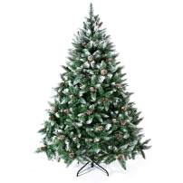 Senjie Artificial Christmas Tree 6,7,7.5Foot Flocked Snow Trees with Pine Cone Decoration Unlit
