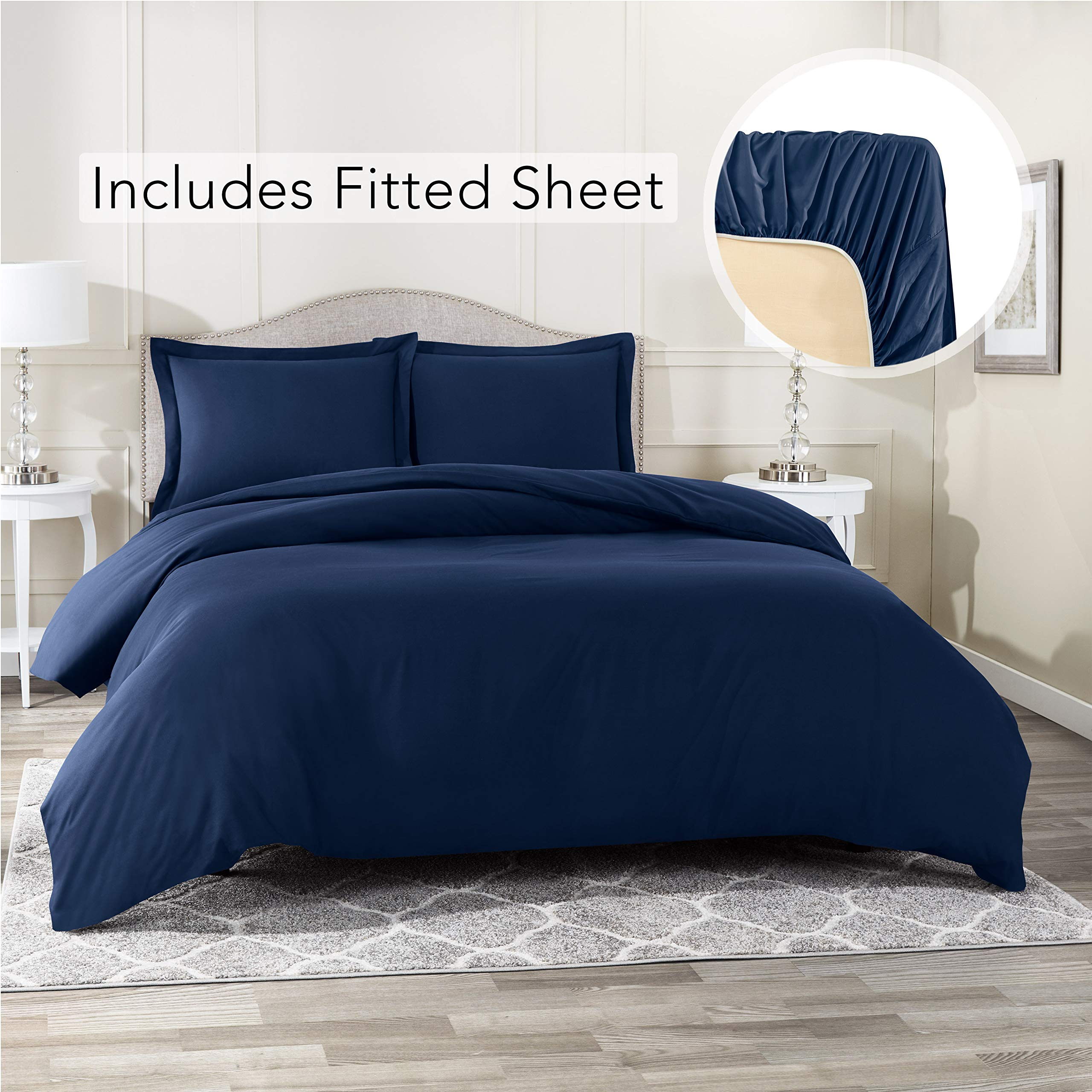 Nestl Bedding Duvet Cover with Fitted Sheet 4 Piece Set - Soft Double Brushed Microfiber Hotel Collection - Comforter Cover with Button Closure, Fitted Sheet, 2 Pillow Shams, Cal King - Navy