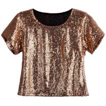 VIJIV Women's Glitter Glam Sequin Top Loose Sleeves Sparkly Shimmer Party Bridesmaid Sequined Tunic Top