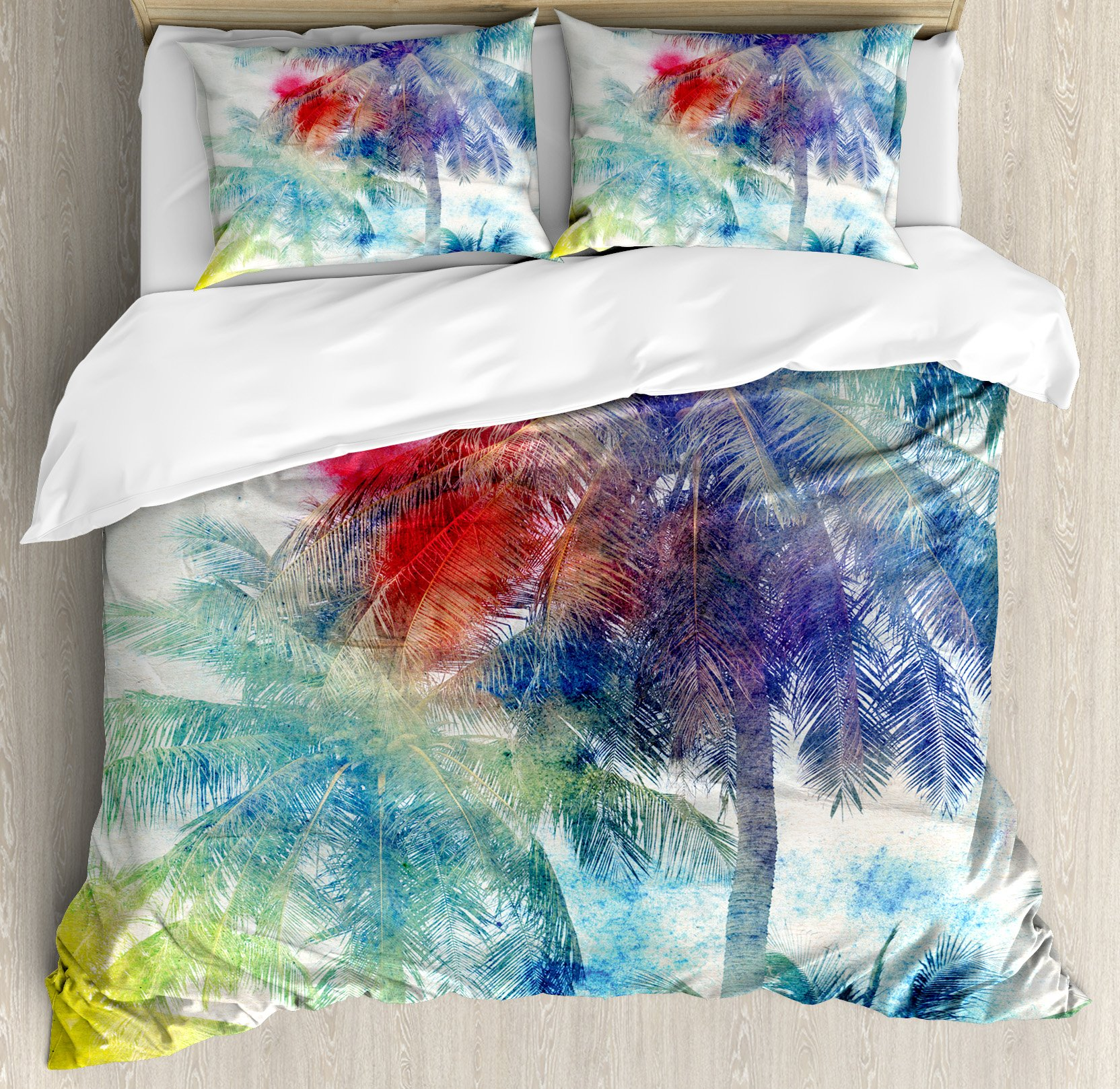 Ambesonne Palm Tree Duvet Cover Set, Retro Watercolor Silhouettes of Palm Trees Stains on Tropical Paradise Theme, Decorative 3 Piece Bedding Set with 2 Pillow Shams, King Size, Sepia Purple