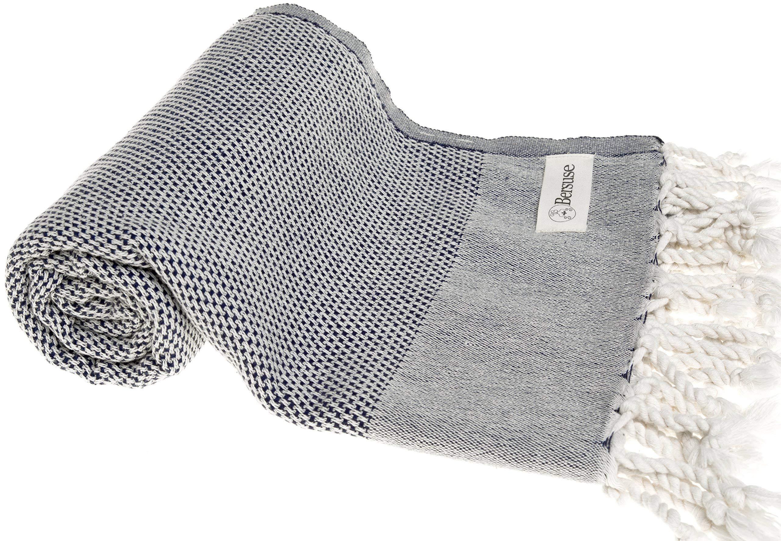 Bersuse 100% Cotton Ventura Handloom Turkish Towel-37X70, Dark Blue, 37x70 Inches