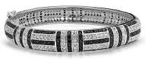 Art Deco Style Geometric Black White Cubic Zirconia CZ Statement Bangle Bracelet for Women Silver Plated Brass