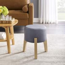 Volans Small Round Ottoman, Mid Century Modern Vintage Leathaire Low Short Upholstered Makeup Vanity Stool Chair with Detachable Stackable Tripod Wood Accent Stool, Foot Rest Stool, Dust Blue