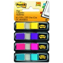 Post-it Flags, Assorted Bright Colors, 1/2-Inch Wide, 35/Dispenser, 4-Dispensers/Pack