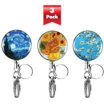 3-PK Decorative Retractable Badge Reel with Waterproof ID Holders & Key Rings. Steel Wire, Belt Clip & Metal Badge Clip. Great for Lanyards, Nurses, Teachers, Men & Women. Van Gogh Collection