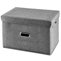 HONGKERNE Foldable Storage Bins with Lid[1-Pack] Linen Fabric Storage Bin Collapsible Storage Box,Basket with Lids for Bedroom Clothes Storage Containers for Home Bedroom Closet (Gray, Large)