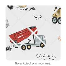 Sweet Jojo Designs Construction Truck Fabric Memory Memo Photo Bulletin Board - Grey Yellow Orange Red and Blue Transportation
