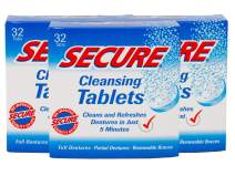 Secure Cleansing Tablets Zinc Free PH Formula Removes Odors, Stains, Bacteria, Germs - Clean Dentures, Partials & Removable Braces - 32 Tablets (Pack of 3)
