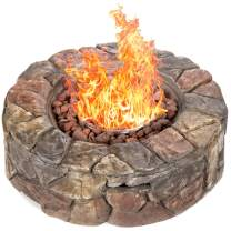 Best Choice Products 30,000 BTU Gas Fire Pit for Backyard, Garden, Home, Outdoor Patio w/Natural Stone, Handle, Cover