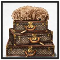 """The Oliver Gal Artist Co. Fashion and Glam Framed Wall Art Canvas Prints 'Sleeping Poodle' Travel Essentials Home Décor, 36"""" x 36"""", Brown, White"""